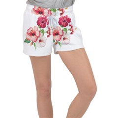 Painting Flowers Women s Velour Lounge Shorts