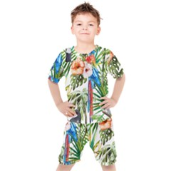 Tropical Parrots Kids  Tee And Shorts Set by goljakoff