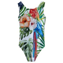 Tropical Parrots Kids  Cut Out Back One Piece Swimsuit by goljakoff