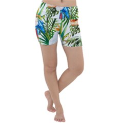Tropical Parrots Lightweight Velour Yoga Shorts by goljakoff