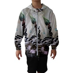 Cute Fairy Dancing On A Piano With Butterflies And Birds Hooded Windbreaker (kids) by FantasyWorld7