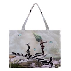 Cute Fairy Dancing On A Piano With Butterflies And Birds Medium Tote Bag