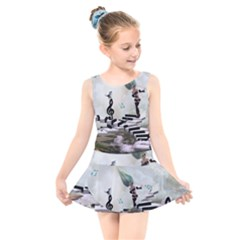 Cute Fairy Dancing On A Piano With Butterflies And Birds Kids  Skater Dress Swimsuit