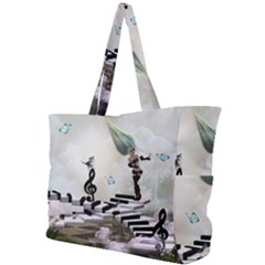 Cute Fairy Dancing On A Piano With Butterflies And Birds Simple Shoulder Bag