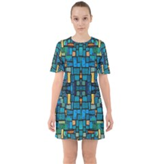 Ml 103 1 Sixties Short Sleeve Mini Dress by ArtworkByPatrick