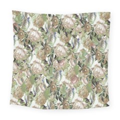 Romantic Beige Flowers Square Tapestry (large) by retrotoomoderndesigns