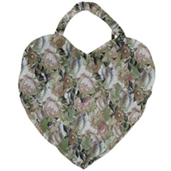 Romantic Beige Flowers Giant Heart Shaped Tote
