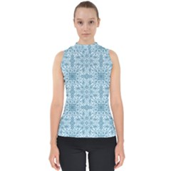 Ornamental Blue Mock Neck Shell Top