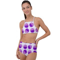 Kawaii Grape Jam Jar Pattern High Waist Tankini Set