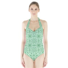 Ornamental Green Halter Swimsuit by snowwhitegirl