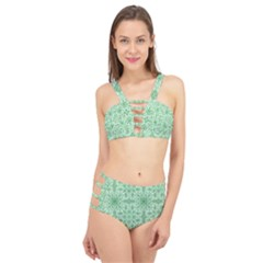 Ornamental Green Cage Up Bikini Set