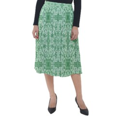Ornamental Green Classic Velour Midi Skirt