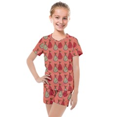 Pears Red Kids  Mesh Tee And Shorts Set by snowwhitegirl