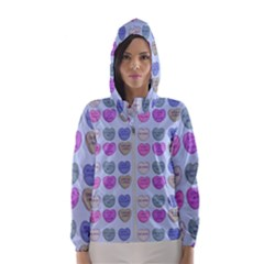 Valentine Hearts Blue Hooded Windbreaker (women) by snowwhitegirl