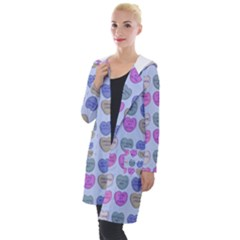 Valentine Hearts Blue Hooded Pocket Cardigan