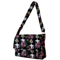 Victorian Girl Black Full Print Messenger Bag