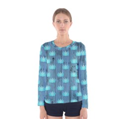 Zen Lotus Wood Wall Blue Women s Long Sleeve Tee