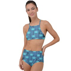 Zen Lotus Wood Wall Blue High Waist Tankini Set