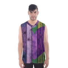 Wood Wall Heart Purple Green Men s Basketball Tank Top