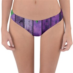 Wood Wall Heart Purple Green Reversible Hipster Bikini Bottoms