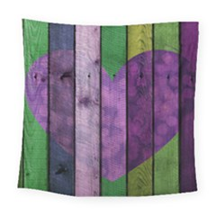 Wood Wall Heart Purple Green Square Tapestry (large) by snowwhitegirl
