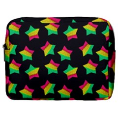 Ombre Glitter Pink Green Star Pat Make Up Pouch (large)