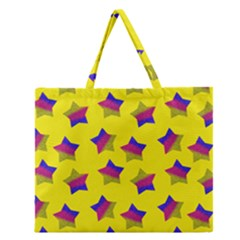 Ombre Glitter  Star Pattern Zipper Large Tote Bag by snowwhitegirl