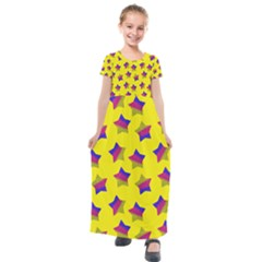Ombre Glitter  Star Pattern Kids  Short Sleeve Maxi Dress by snowwhitegirl
