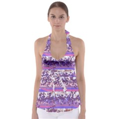 Abstract Pastel Pink Blue Babydoll Tankini Top by snowwhitegirl