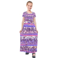 Abstract Pastel Pink Blue Kids  Short Sleeve Maxi Dress by snowwhitegirl