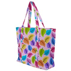 Colorful Leaves Zip Up Canvas Bag