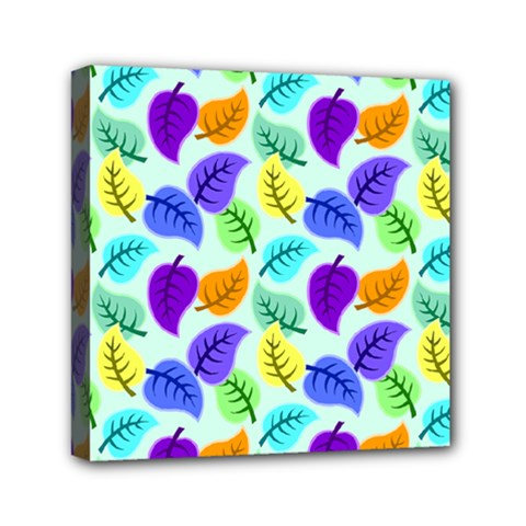 Colorful Leaves Blue Mini Canvas 6  X 6  (stretched)