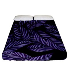 Tropical Leaves Purple Fitted Sheet (queen Size) by snowwhitegirl
