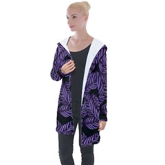 Tropical Leaves Purple Longline Hooded Cardigan by snowwhitegirl