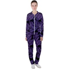 Tropical Leaves Purple Casual Jacket And Pants Set by snowwhitegirl