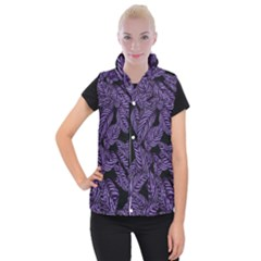 Tropical Leaves Purple Women s Button Up Vest by snowwhitegirl