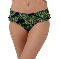 Tropical Leaves On Black Frill Bikini Bottom by snowwhitegirl