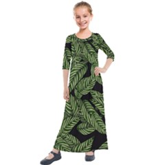 Tropical Leaves On Black Kids  Quarter Sleeve Maxi Dress by snowwhitegirl