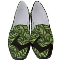 Tropical Leaves On Black Women s Classic Loafer Heels by snowwhitegirl