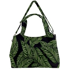 Tropical Leaves On Black Double Compartment Shoulder Bag