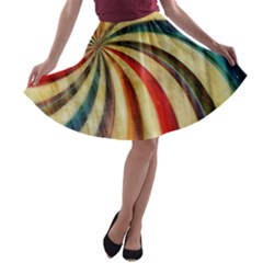 Abstract Rainbow Swirl A Line Skater Skirt