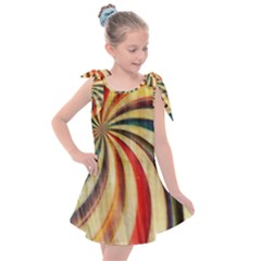 Abstract Rainbow Swirl Kids  Tie Up Tunic Dress