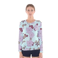 Vintage Floral Lilac Pattern Women s Long Sleeve Tee