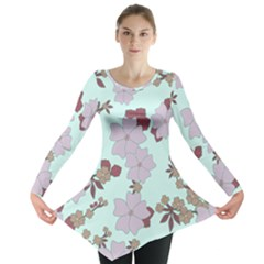 Vintage Floral Lilac Pattern Long Sleeve Tunic
