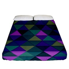 Blue Geometric Fitted Sheet (california King Size)