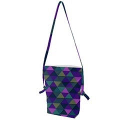 Blue Geometric Folding Shoulder Bag