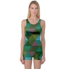Green Geometric One Piece Boyleg Swimsuit by snowwhitegirl