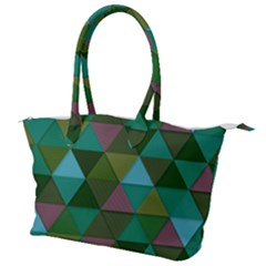 Green Geometric Canvas Shoulder Bag