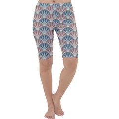 Vintage Scallop Blue Red Pattern Cropped Leggings