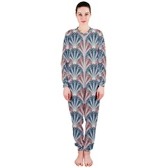 Vintage Scallop Blue Red Pattern Onepiece Jumpsuit (ladies)